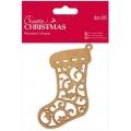 """Декоративная плоская фигурка """"Рождественский носок"""", Create Christmas, 9х10 см, МДФ, DoCrafts"""