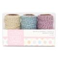 Шнуры декоративные пастельных цветов, коллекция Spots & Stripes Pastels, 3 шт. по 20 м, Papermania