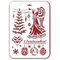 "Трафарет пластиковый новогодний EDNGP078 ""Ангел и новогодняя ель"", 21х31 см, Event Design"