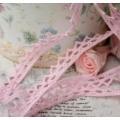 Тесьма кружевная Треугольники П/Э розовая, 1 см х 2 м