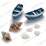 """Декоративные элементы """"Морские лодки и раковины"""",  клеевое крепление, полимерная смола, 1 - 5 см, 8 шт, Knorr prandell"""