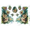 Рисовая бумага для декупажа Renkalik Фрезия, бабочки, 35х50 см