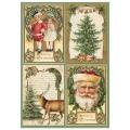 "Рисовая бумага для декупажа Stamperia DFSA4196 ""Санта Клаус, открытки"", формат А4"