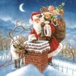 """Салфетка для декупажа SDGW007801 """"Санта с подарками"""", 33х33 см"""