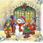"Салфетка для декупажа SLGW007001 ""Снеговик и дети"", 33х33 см, Германия"