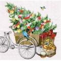 "Салфетка для декупажа HF33305215 ""Велосипед с ёлкой"", 33х33 см, Ambiente (Голландия)"