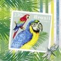 """Салфетка для декупажа HFLU251420 """"Бразильские марки с попугаями"""", 33х33 см, Германия"""