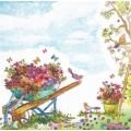 """Салфетка для декупажа """"Тачка с цветами"""", 33х33 см, Германия"""