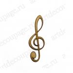 Декоративная плоская фигурка Скрипичный ключ, фанера, 1,8х5,5 см, Woodbox