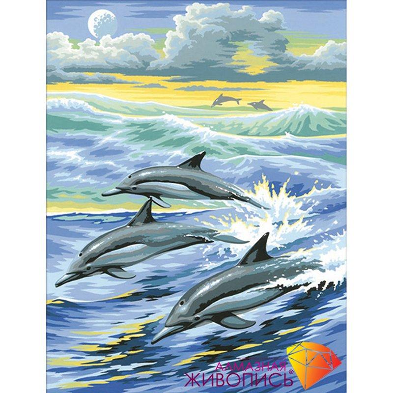 Картина стразами Семья дельфинов Алмазная живопись АЖ-1062