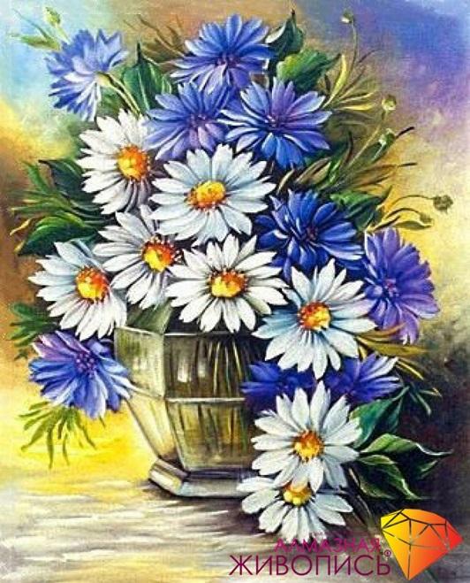 Картина стразами Ромашки с васильками Алмазная живопись