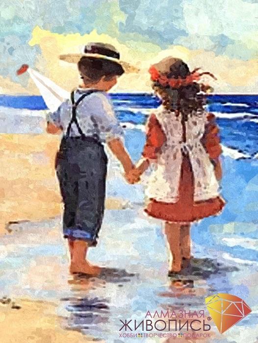 Картина стразами Дети у моря Алмазная живопись