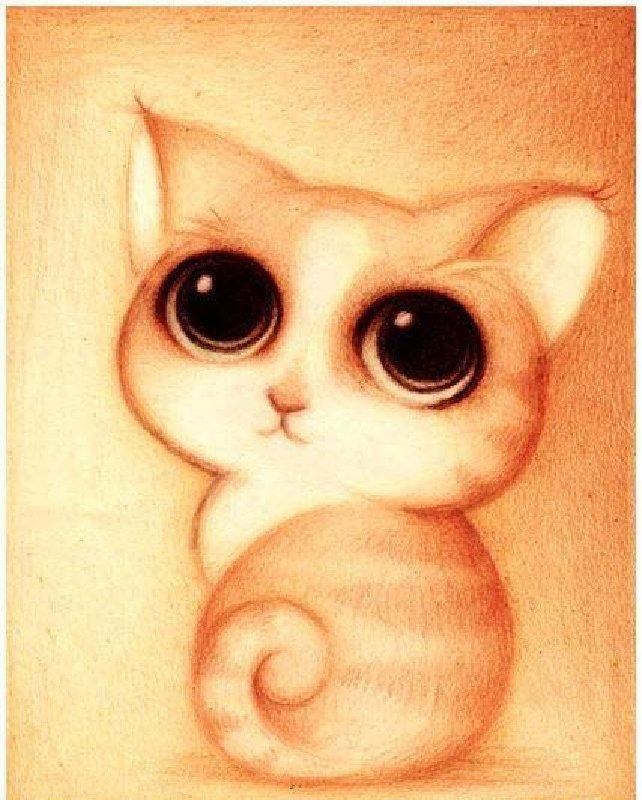 Картина стразами Милый котенок, 25х30 см, Алмазная живопись