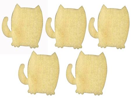 Декоративные плоские фигурки коты, лазерные вырубки из фанеры