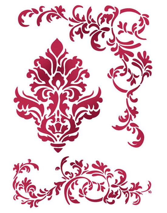 Трафарет для декора Завитки и узоры Stamperia, клей спрей для фиксации трафаретов, деревянные заготовки интернет магазин АртДеку