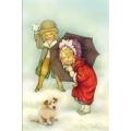 "Бумага для 3D декупажа ""Зима, дети и щенок"" 12х20 см, 300 г/м2, Stamperia"