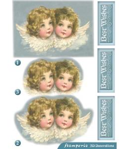 """Бумага с высечкой для объемного декупажа """"Ангелы"""" 12х20 см, 300 г/м2, Stamperia"""