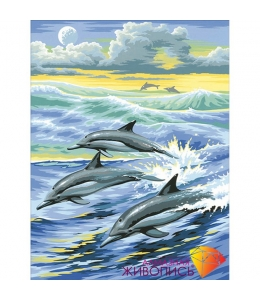 Картина стразами набор Семья дельфинов - 30х39 см