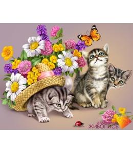 Картина стразами набор Три котенка - 50х40 см