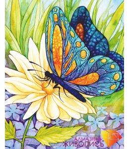 Картина стразами набор Бабочка и цветок - 30х38 см
