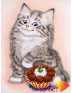 Картина стразами набор Кот и пирожное - 25х35 см
