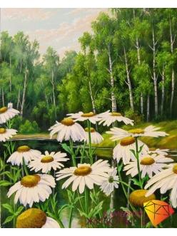 Картина стразами - Ромашки у пруда