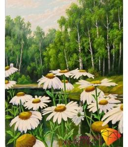 Картина стразами набор Ромашки у пруда - 40х50 см