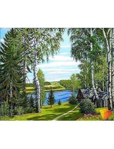 Картина стразами набор Домик у речки - 50х40 см