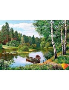 Картина стразами набор Лодки у берега - 55х40 см