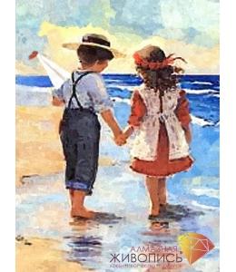 Картина стразами набор Дети у моря - 30х40 см