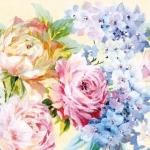 """Салфетка для декупажа """"Цветы акварель"""", 33х33 см, Голландия"""