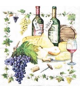 """Салфетка для декупажа """"Вино и сыр"""", 33х33 см, Голландия"""