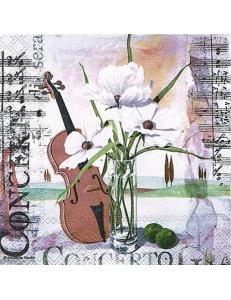 """Салфетка для декупажа """"Скрипка и цветы"""", 33х33 см, Голландия"""