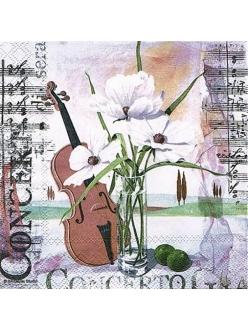 Салфетка для декупажа Скрипка и цветы, 33х33 см, Голландия