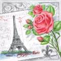 """Салфетка для декупажа """"Париж и розы"""", 33х33 см, Голландия"""