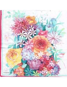 """Салфетка для декупажа """"Букет с розами"""", 33х33 см, Голландия"""