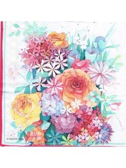 Салфетка для декупажа Букет с розами, 33х33 см, Голландия
