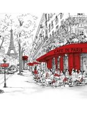 """Салфетка для декупажа """"Парижское кафе"""", 33х33 см, Голландия"""