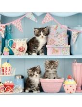 "Салфетка для декупажа ""Котята на кухне"", 33х33 см, Голландия"