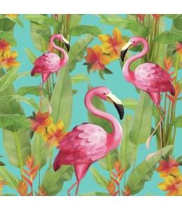 """Салфетка для декупажа """"Фламинго на бирюзовом"""", 33х33 см, Голландия"""