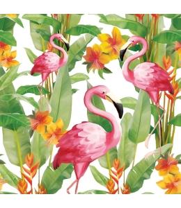 """Салфетка для декупажа """"Фламинго на белом"""", 33х33 см, Голландия"""