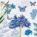 """Салфетка для декупажа """"Голубые цветы и бабочки"""", 33х33 см, Голландия"""