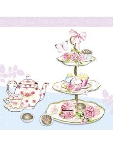 "Салфетка для декупажа ""Чай на голубом"", 33х33 см, Голландия"