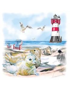 "Салфетка для декупажа ""Тюлени на пляже"", 33х33 см, Голландия"