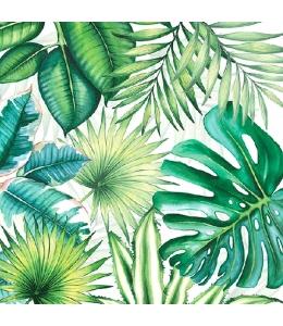 """Салфетка для декупажа """"Тропические листья на белом"""", 33х33 см, Голландия"""