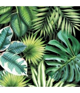"""Салфетка для декупажа """"Тропические листья на черном"""", 33х33 см, Голландия"""