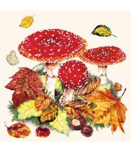 """Салфетка для декупажа """"Мухоморы и осенние листья"""", 33х33 см, Ambiente (Голландия)"""