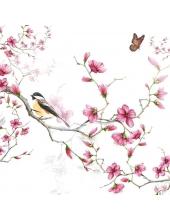 """Салфетка для декупажа """"Птичка на цветущей ветке"""", 33х33 см, Голландия"""