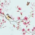 """Салфетка для декупажа """"Птица на цветущей ветке, голубой фон"""", 33х33 см, Голландия"""