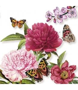 """Салфетка для декупажа """"Пионы и бабочки"""", 33х33 см, Голландия"""